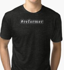 Reformer - Hashtag - Black & White Tri-blend T-Shirt