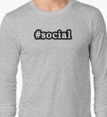 Social - Hashtag - Black & White Long Sleeve T-Shirt