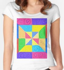 DeepDream Color Squares Visual Areas 5x5K v1448115896 Fitted Scoop T-Shirt