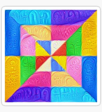 DeepDream Color Squares Visual Areas 5x5K v1448123183 Sticker