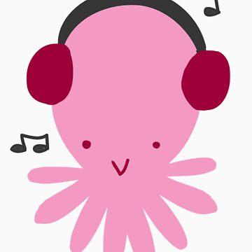 Pink Headphones Octopus by SaradaBoru