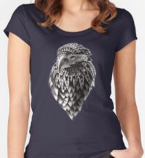 Ornate Tribal Shaman Eagle Print Fitted Scoop T-Shirt