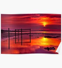 """""""Red Morning At Fisherman's Beach"""" Poster"""