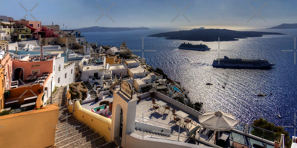 Cruise Ships in the Caldera by Tom Gomez