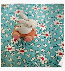 Bunny on Blue Poster