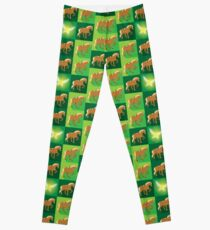 Abstract Epona on a field of green Leggings