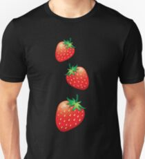 3 Strawberries fruit down Unisex T-Shirt