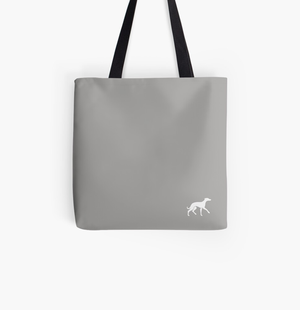 White Whippet On Grey Design All Over Print Tote Bag