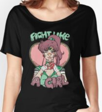 Sailor Moon- Fight Like a Girl (Sailor Jupiter) Women's Relaxed Fit T-Shirt