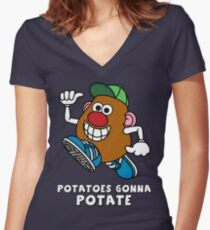 Potatoes Gonna Potate Women's Fitted V-Neck T-Shirt