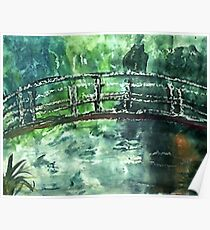 The Japanese bridge, by Monet,my version, watercolor Poster
