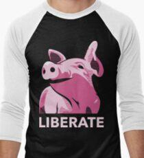 Liberate (Pig, No Background, Electric Pink) Men's Baseball ¾ T-Shirt