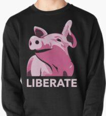 Befreit (Schwein, Kein Hintergrund, Elektrisches Pink) Sweatshirt