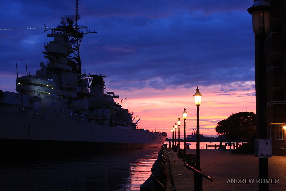 USS Wisconsin Sunset by ANDREW ROMER