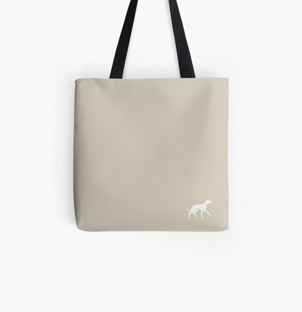 White Whippet On Taupe Design All Over Print Tote Bag