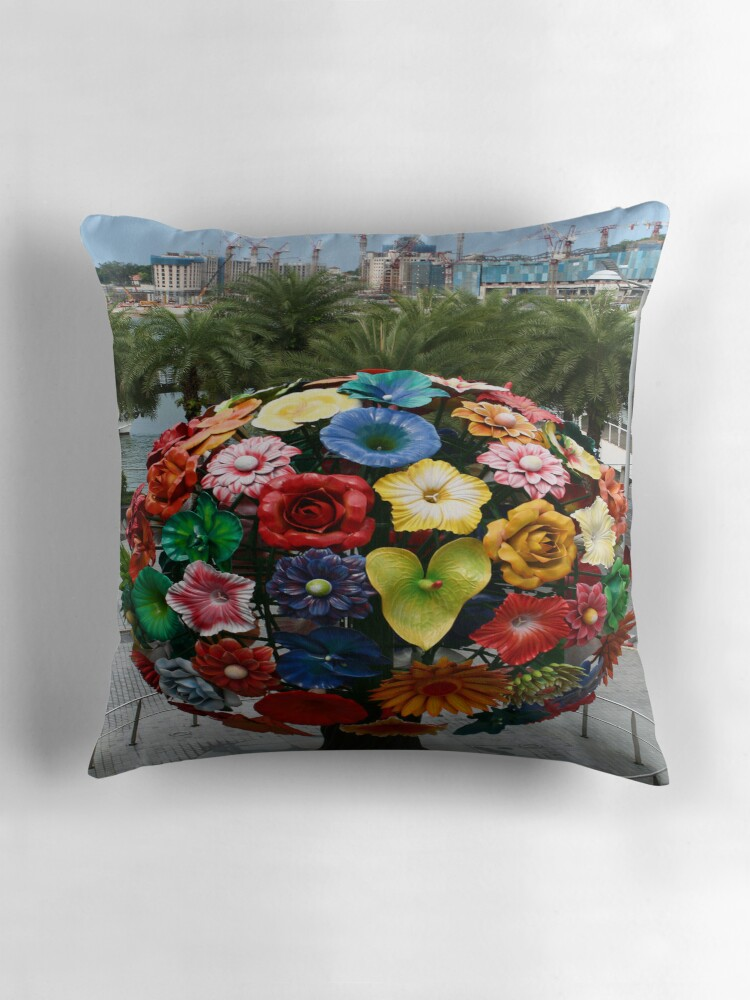 "Singapore flower ball VivoCity"" Throw Pillows by Heike Richter"