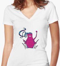 ninjitzoo - bruce flea Women's Fitted V-Neck T-Shirt