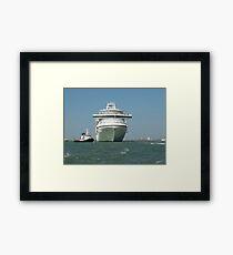 Ocean liner and boat  Framed Print