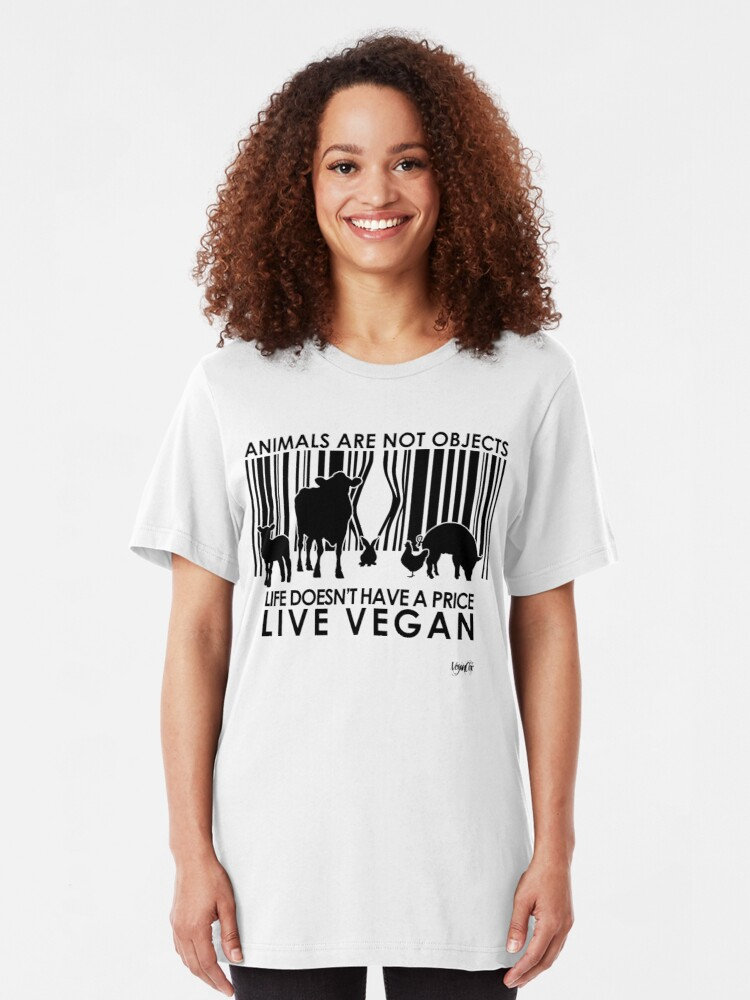 Alternate view of VeganChic ~ Animals Are Not Objects Slim Fit T-Shirt
