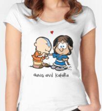 Aang & Katara (Avatar / Calvin & Hobbes) Women's Fitted Scoop T-Shirt