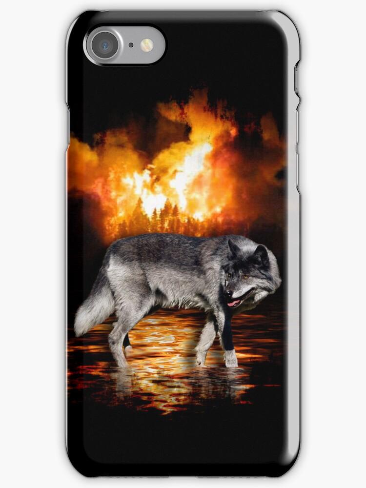 Grey Wolf Fire Flames Survivor iPhone Case by NaturePrints