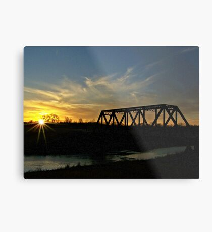 Dusk on the Rails Metal Print