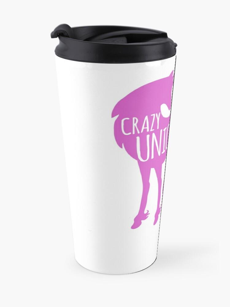 Alternate view of Crazy Unicorn lady in purple Travel Mug