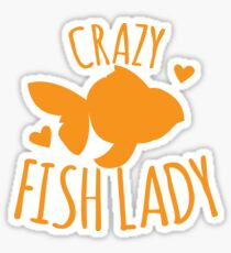 Crazy Fish lady with cute little goldfish Sticker