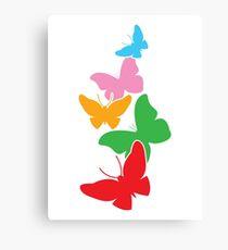 5 cute rainbow butterflies flying up Canvas Print