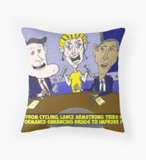 Caricature of Obama Romney and Armstrong Throw Pillow