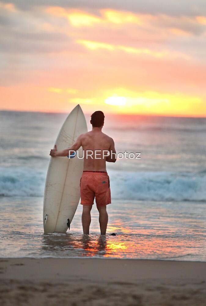 Surfing at Sunrise by PUREPhotoz