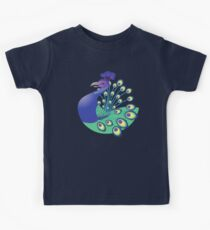 A splendid green and blue Peacock Kids Tee