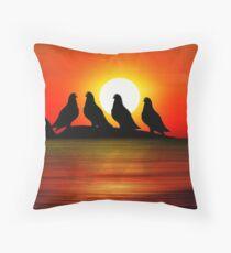 Birds at Sunset point Throw Pillow