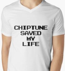 Chiptune Saved My Life (Black) Mens V-Neck T-Shirt