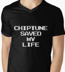 Chiptune Saved My Life (White) Mens V-Neck T-Shirt