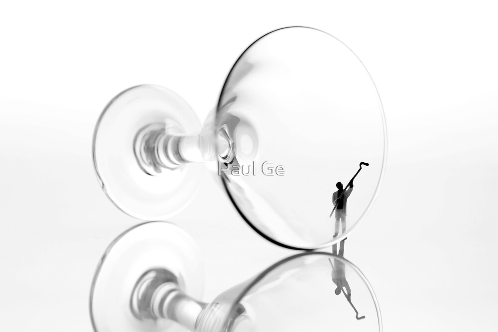 Little people cleaning wine cup by Paul Ge