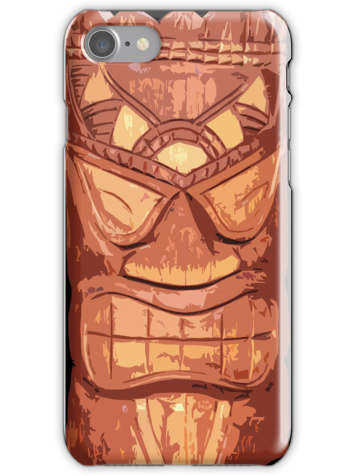Carved Wooden Tiki iPhone Case  by Framerkat