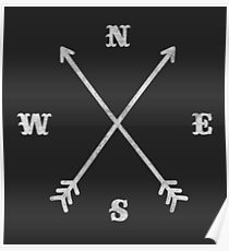Hipster Crossed Arrows - Compass (NSEW) Poster