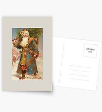 A Merry Christmas-Vintage Santa with Tree Christmas Card Postcards