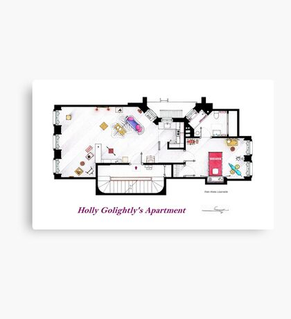 Breakfast at Tiffany's Apartment Floorplan Canvas Print