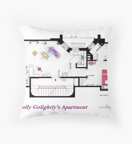 Breakfast at Tiffany's Apartment Floorplan Throw Pillow