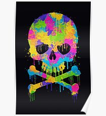 Abstract Trendy Graffiti Watercolor Skull  Poster