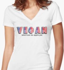 Vegan American As Apple Pie Women's Fitted V-Neck T-Shirt
