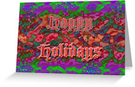 Happy Holidays Greeting Card - Purple Red Green With Text by MotherNature