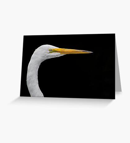 White on black Egret Greeting Card