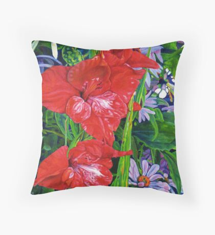 Gladiola and Echinacea Throw Pillow