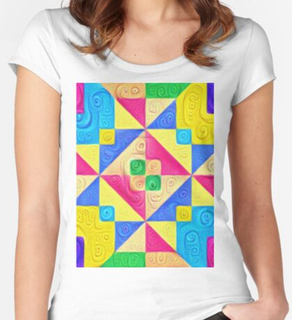 #DeepDream Color Squares Visual Areas 5x5K v1448168644 Fitted Scoop T-Shirt