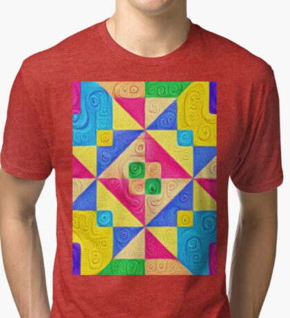 #DeepDream Color Squares Visual Areas 5x5K v1448168644 Tri-blend T-Shirt