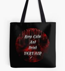 Keep Calm & Drink Vervain Black & Red Round VD Logo Tote Bag