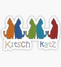 Kitsch Cats Silhouette Cat Collage Pattern Isolated Sticker